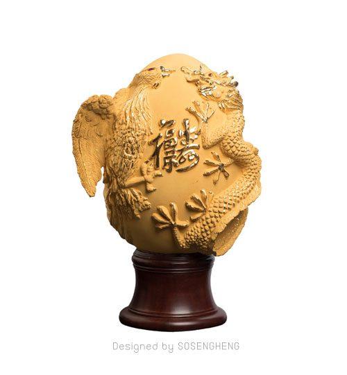 รูปปั้นหงส์คู่มังกรทองคำแท้ เสริมความรัก เสริมทรัพย์ บารมี [PM004]