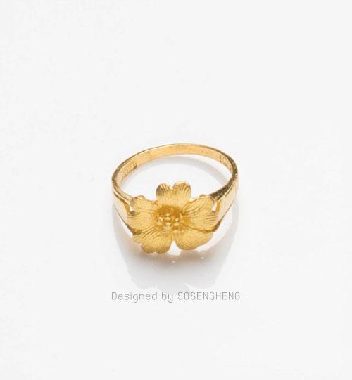 แหวนทองแท้ หัวแหวนเป็นดอกไม้สวยงาม งานละเอียดมาก [0N0A1515]