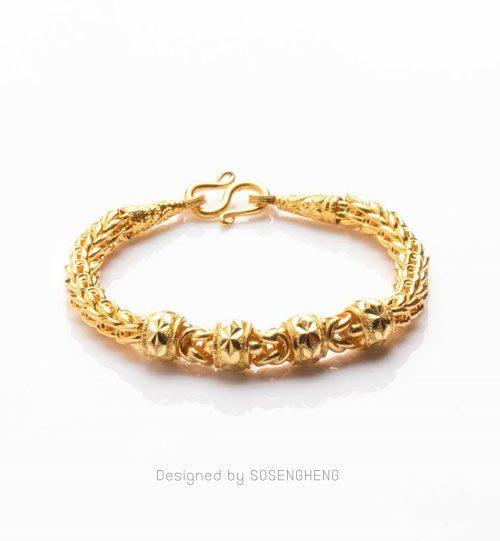 สร้อยข้อมือทองคำ แต่งข้อสลักลาย สวย เด่นมากๆ [0N0A2057]