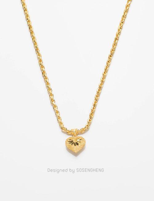 สร้อยคอทองคำ ติดจี้หัวใจ ฉลุลาย งานสวย คุณภาพดี [0N0A1699]