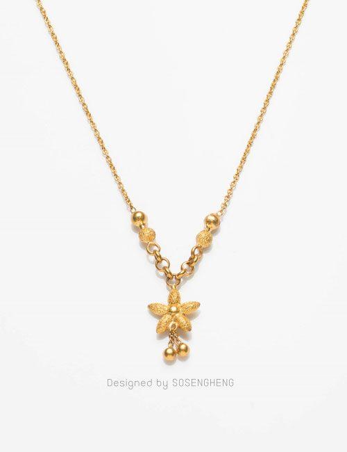 สร้อยคอทองคำ ติดจี้ดอกไม้ งานสวย คุณภาพดี