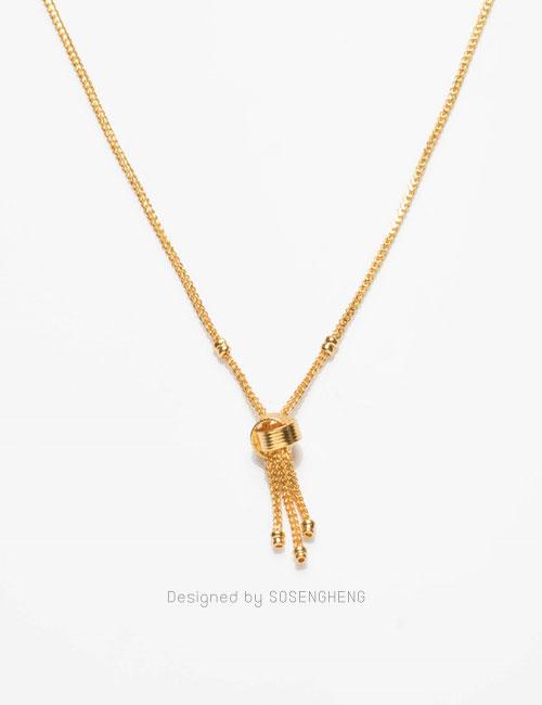 สร้อยคอทองคำ ผูกข้อแบบ Roller มีสายสร้อยเล็กๆ เก๋มากๆ