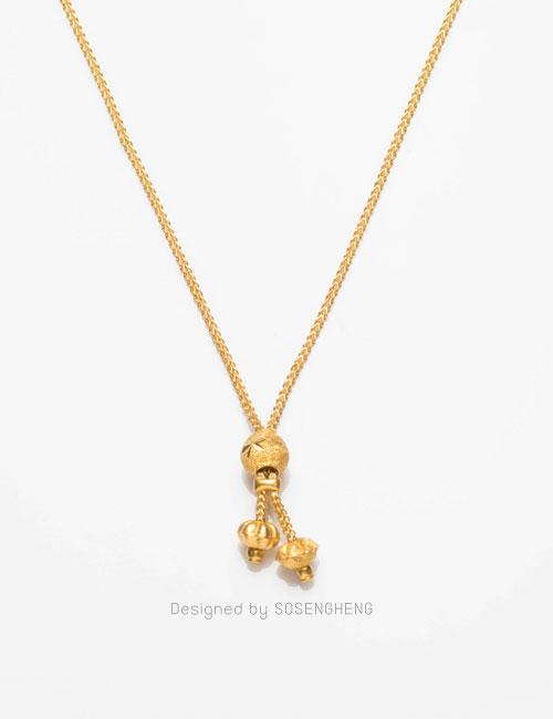 สร้อยคอทองคำ ผูกข้อทองกลมสลักลาย มีสายสร้อยเล็กๆ ดีงามสุดๆ [0N0A1702]