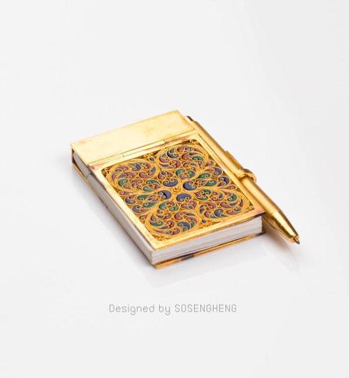 สมุดโน้ตพร้อมปากกาทองคำแท้ ขนาดจิ๋ว แต่งแต้มสี [PM002]